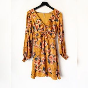 Free People Morning Light Golden Yellow Mini Dress